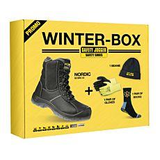 Sicherheitsschuh Box mit Mütze, Handschuhen, Socken wasserabweisend