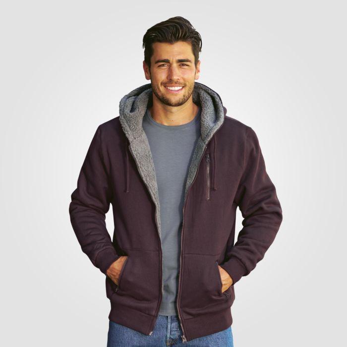 Fleece-Kapuzen-Jacke mit 2 Taschen