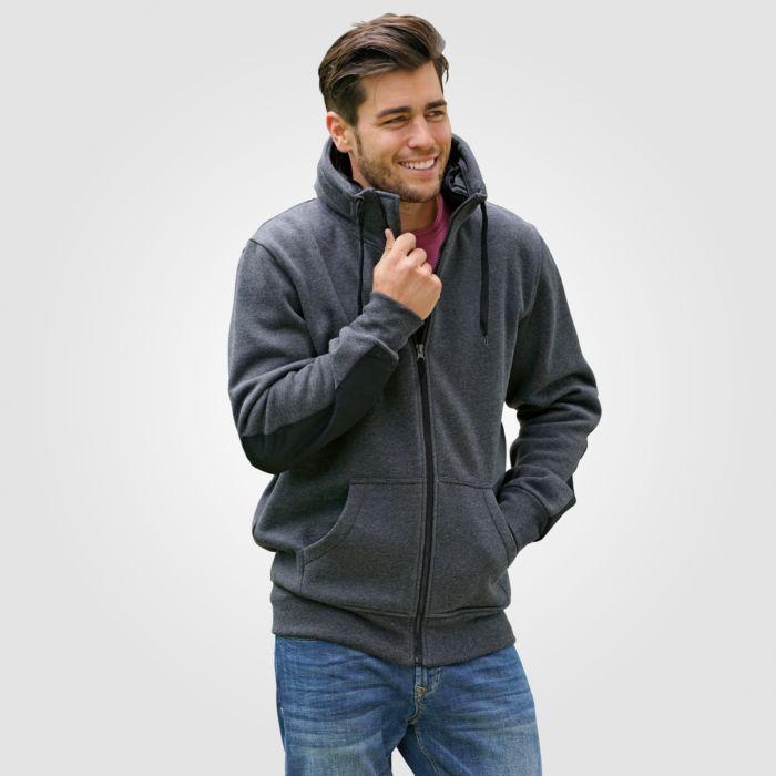 Sweat-Jacke mit Känguru-Taschen und Ärmelrückseite mit Verstärkung