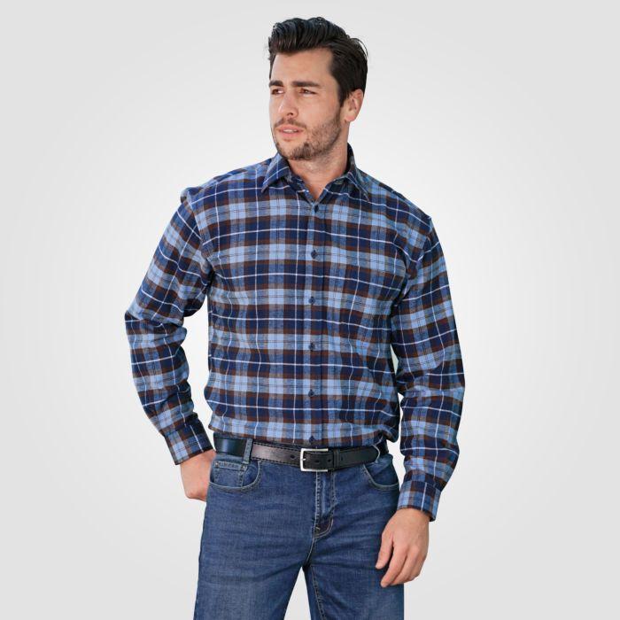 Flanellhemd Herren langarm blau-braun 100% Baumwolle