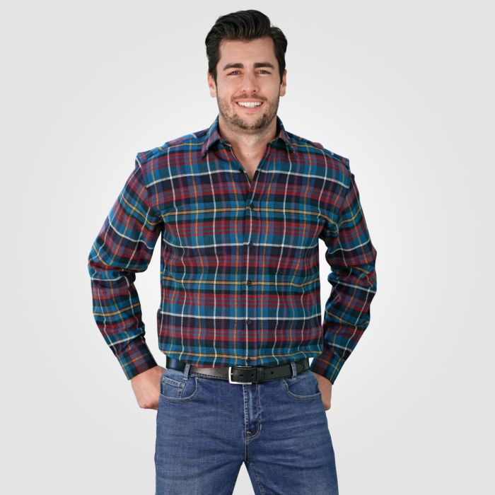 Flanellhemd Herren rot-blau karriert 100% Baumwolle