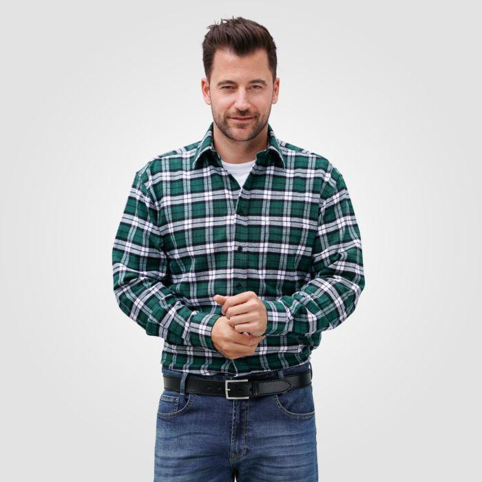 Langarm Flanellhemd Herren grün-weiss mit Brusttasche