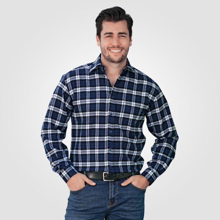 Langarmhemd Herren Flanell marine-weiss 100% Baumwolle