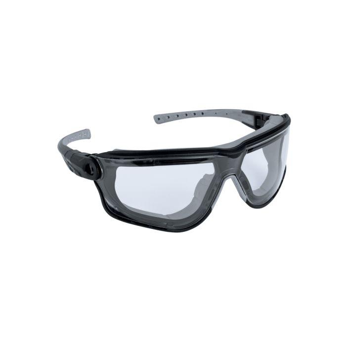 Abgedichtete Schutzbrille mit abdichtender Gummilippe